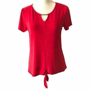 DIANA BELLE Top Blouse Red Knot Tie Front Keyhole